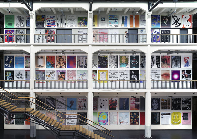 Poster installation by HfG Karlsruhe communication design students and professors (2017)