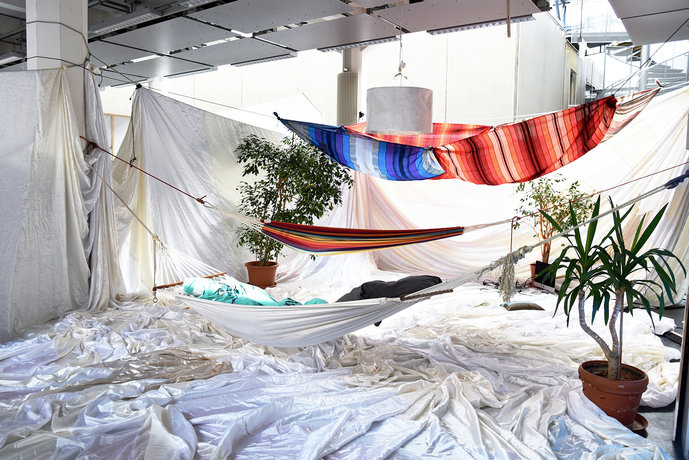 """Sleeping Resistance,"" seminar by Prof. Michael Bielicky, Hannah Cooke, and Seraphine Meya. Seminar room (idea cocoon) on the second-floor arcade of HfG Karlsruhe"