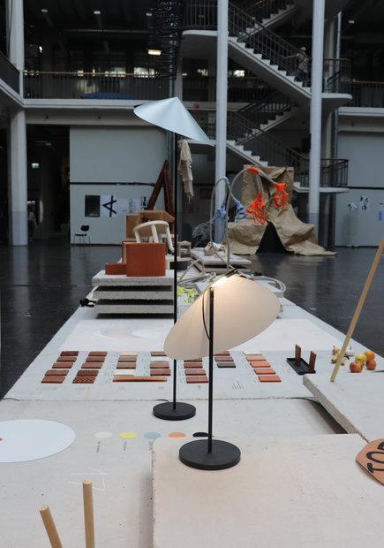Product design exhibition during the Rundgang 2019 on the ground floor of the HfG with precast concrete elements